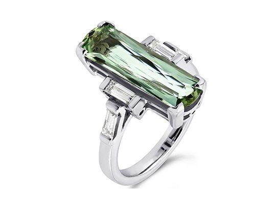 Green Aquamarine & Diamond ring from Originals, Odiham